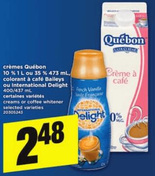 Crèmes Québon 473 ml ou 1L du 18 au 24 avril 2019