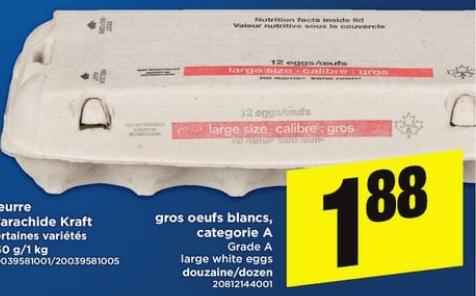 Gros Oeufs Blancs, Gategorie A 12un du 18 au 24 avril 2019