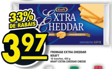 Fromage Extra Cheddar Kraft 450g 16 tranches du 18 au 24 juillet 2019