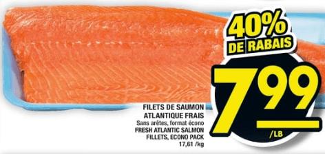 Filets de Saumon Atlantique Frais du 18 au 24 juillet 2019