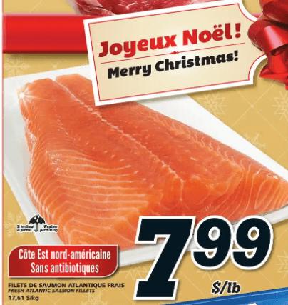 Filets de Saumon Atlantique Frais du 19 au 25 décembre 2019