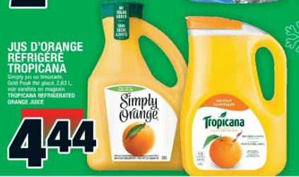 Jus D'orange Réfrigéré Tropicana 2,63L du 19 au 25 décembre 2019