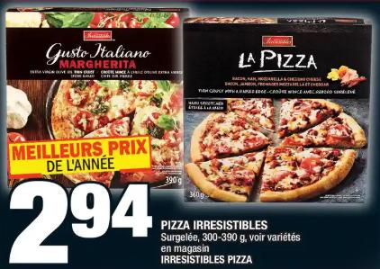 Pizza Irresistibles du 19 au 25 mars 2020