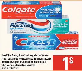 Dentifrice Crest, Aquafresh, Régulier ou Winter Fresh Colgate, Brosse à Dents Manuelle Oral-B ou Colgate ou Soie Dentaire Oral B du 2 au 8 janvier 2020