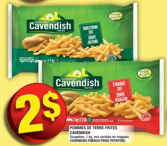 Pommes de Terre Frites Cavendish du 2 au 8 janvier 2020