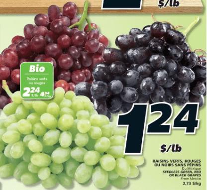 Raisins Verts, Rouges ou Noirs Sans Pépins du 2 au 8 juillet 2020