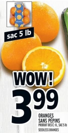 Oranges Sans Pépins 5 lb du 2 au 8 mai 2019