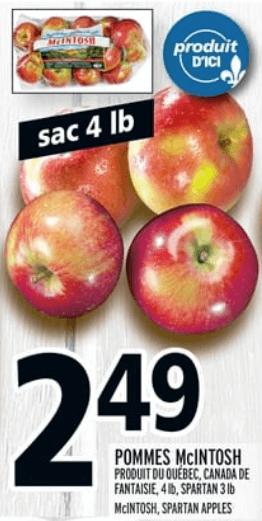 Pommes Mcintosh 4 lb du 2 au 8 mai 2019