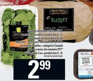 Pommes de Terre Délices du Marché 10 lb du 2 au 8 mai 2019