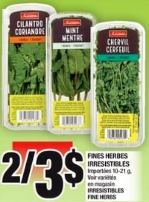 Fines Herbes Irresistibles 10-21g du 2 au 8 mai 2019