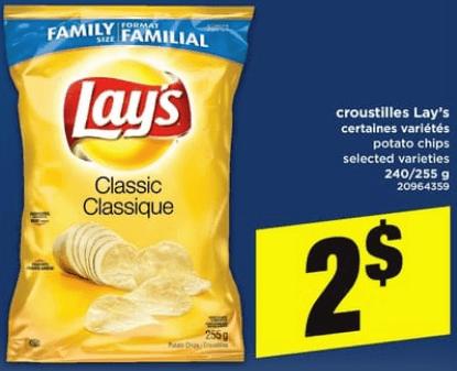 Croustilles Lay's 240/255g du 20 au 26 juin 2019