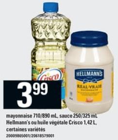 Mayonnaise, Sauce Hellmann's ou Huile Végétale Crisco du 20 au 26 juin 2019