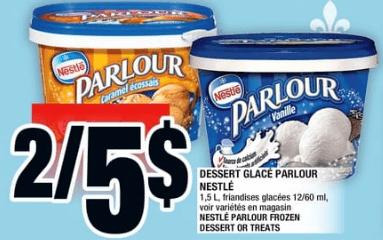 Dessert Glacé Parlour Nestlé 1,5L du 20 au 26 juin 2019