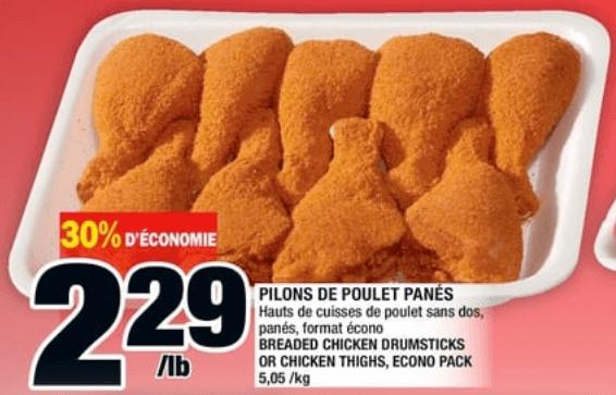 Pilons de Poulet Panés du 20 au 26 juin 2019