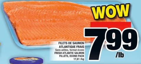 Filets de Saumon Atlantique Frais du 20 au 26 juin 2019