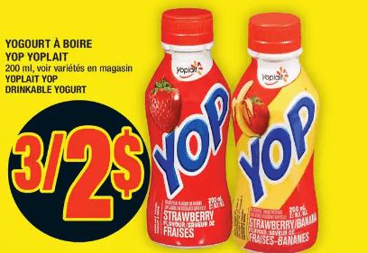 Yogourt à Boire Yop Yoplait du 21 au 27 mai 2020
