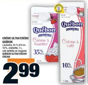 Crème Ultra'crème Québon, Lanctantia 473 ml - 1 L du 21 au 27 novembre 2019
