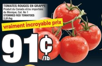 Tomates Rouges en Grappe du 22 au 28 août 2019