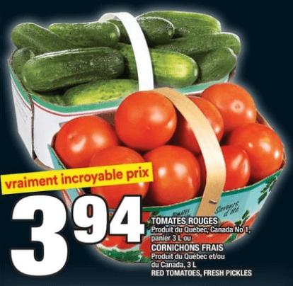 Tomates Rouges 3L | Cornichons Frais 3L du 22 au 28 août 2019