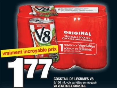 Cocktail de Légumes V8 6 X 156 ml du 22 au 28 août 2019