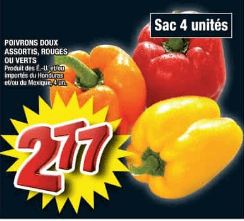 Poivrons Doux Assortis, Rouges ou Verts du 23 au 29 avril 2020