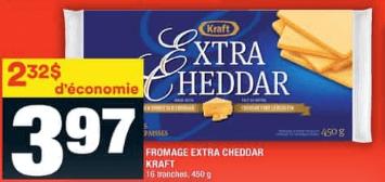Fromage Extra Cheddar Kraft du 23 au 29 juillet 2020