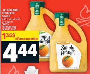 Jus D'orange Réfrigéré Simply du 23 au 29 juillet 2020