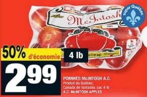 Pommes Mcintosh A.C. du 23 au 29 juillet 2020