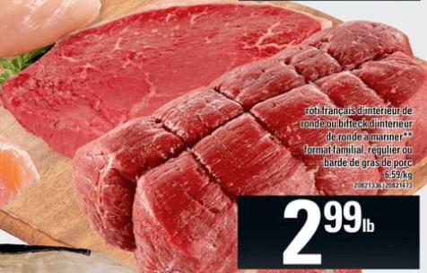 Rôti Français D'intérieur de Ronde ou Bifteck D'intérieur de Ronde à Mariner Format Familial, Régulier ou Bardé de Gras de Porc du 23 au 29 mai 2019