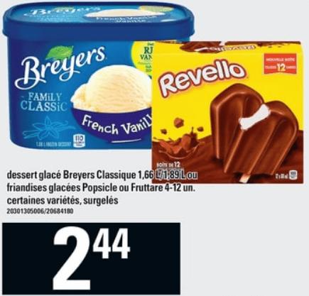 Dessert Glacé Breyers Classique ou Friandises Glacées Popsicle ou Fruttare du 23 au 29 mai 2019