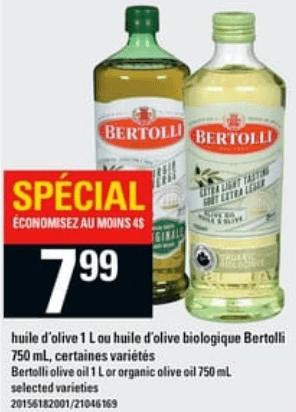 Huile D'olive ou Huile D'olive Biologique Bertolli 1L du 23 au 29 mai 2019