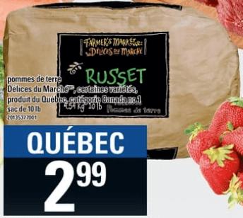 Pommes de Terre Délices du Marché 10 lb du 23 au 29 mai 2019
