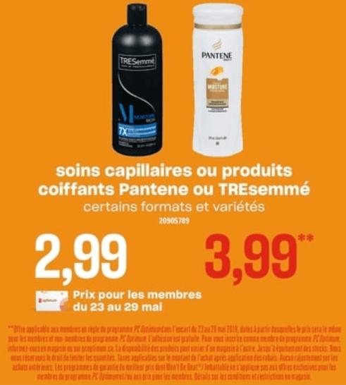 Soins Capillaires ou Produits Coiffants Pantene ou Tresemmé du 23 au 29 mai 2019