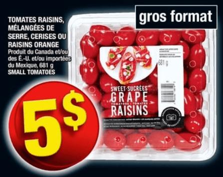 Tomates Raisins, Mélangées de Serre, Cerises ou Raisins Orange 681g du 23 au 29 mai 2019