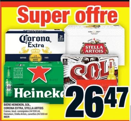 Bière Heineken, Sol, Corona Extra, Stella Artois caisse de 24 du 24 au 30 octobre 2019