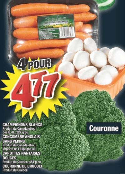 Champignons Blancs | Concombre Anglais Sans Pépins | Carottes Nantaises Douces | Couronne de Brocoli du 24 au 30 octobre 2019