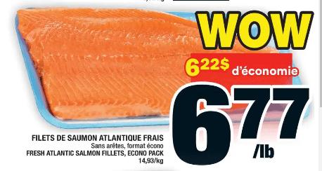 Filets de Saumon Atlantique Frais du 25 au 1 juillet 2020