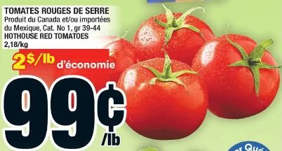 Tomates Rouges de Serre du 25 au 1 juillet 2020