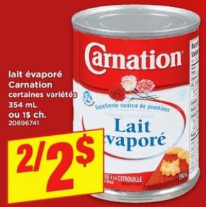Lait Évaporé Carnation 354 ml du 25 au 1 mai 2019