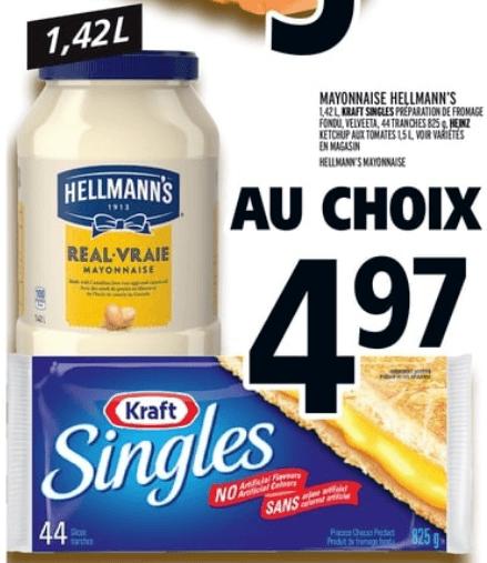 Fromage en tranches kraft 825g (44 tranches) du 25 au 1 mai 2019