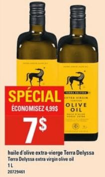 Huile D'olive Extra-Vierge Terra Delyssa 1L du 25 au 1 mai 2019