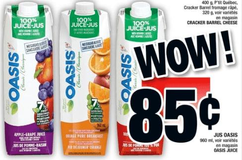 Jus Oasis 960 ml du 25 au 31 juillet 2019