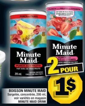 Boisson Minute Maid 295 ml du 25 au 31 juillet 2019
