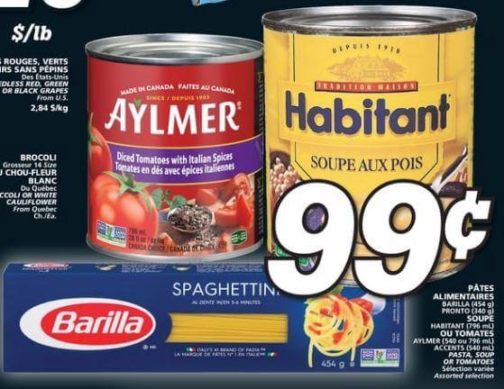 Pâtes Alimentaires Barilla 454g Pronto 340g, Soupe Habitant 796 ml ou Tomates Aylmer Accents 796 ml du 26 au 2 octobre 2019
