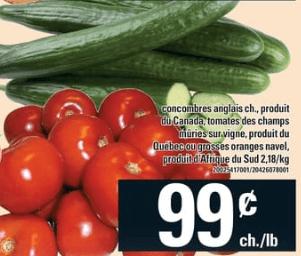 Concombres Anglais, Tomates des Champs Mûries sur Vigne, Grosses Oranges Navel du 26 au 2 octobre 2019