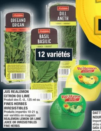 Jus Realemon Citron ou Lime ou Fines Herbes Irresistibles du 26 au 2 octobre 2019