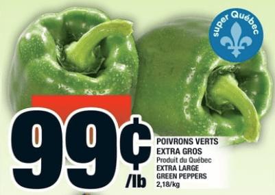Poivrons Verts Extra Gros du 26 au 2 octobre 2019