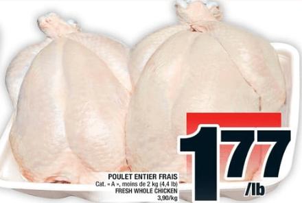 Poulet Entier Frais du 26 au 2 octobre 2019