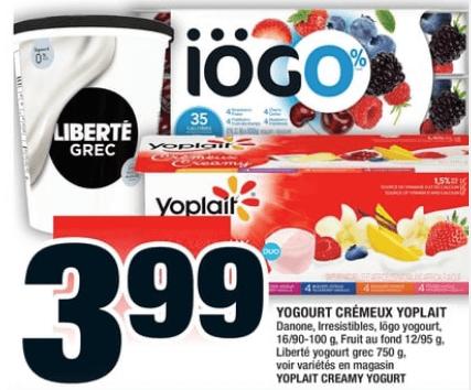Yogourt Crémeux Yoplait 16/90-100g 750g du 26 au 2 octobre 2019