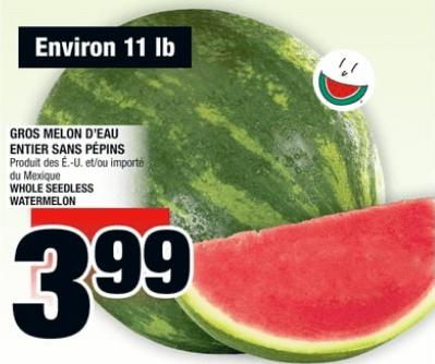 Gros Melon D'eau Entier Sans Pépins 11 lb du 27 au 3 juillet 2019